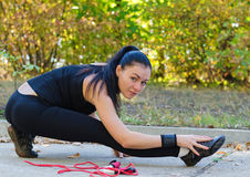 Woman warming up before training Stock Images