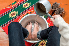 Woman warms her feet in a basin of water Royalty Free Stock Photography