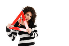 Woman with warning road sign Stock Image