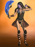 Woman warrior. 3D rendered fantasy woman warrior with exotic swords Royalty Free Stock Photos