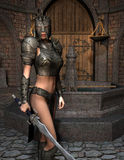 Woman Warrior in Armor. 3D rendering sword fighter in armor in front of fountain Stock Image