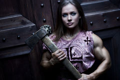 Woman warrior with axe Royalty Free Stock Image