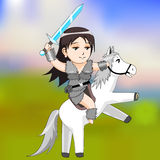 Woman warrior on a horse vector Stock Photo