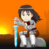Woman warrior on a horse vector Royalty Free Stock Image