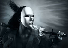Free Woman Warrior In A Silver Mask With A Sword Stock Image - 15170541