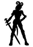 Woman warrior with a sword silhouette Royalty Free Stock Photo