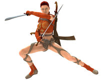 Woman warrior with swords. 3D rendered woman warrior with swords on white background isolated Royalty Free Stock Photography