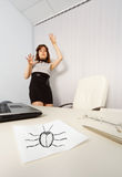 Woman was frightened drawn cockroach Royalty Free Stock Images