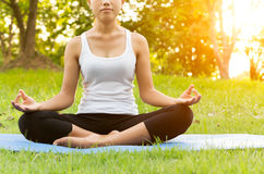 Woman was meditation yoga in park Stock Images