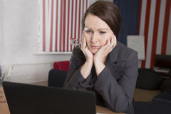 The woman was tired at work Royalty Free Stock Image