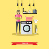 Woman wash clothes in washing machine. Vector illustration in flat style Royalty Free Stock Photography