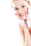 Woman wash face Royalty Free Stock Photography