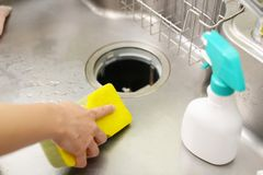 Woman wash the kitchen sink. Woman hands washing the kitchen sink royalty free stock photography