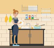 Woman at wash room. Woman at wash room washing the dishes Stock Images