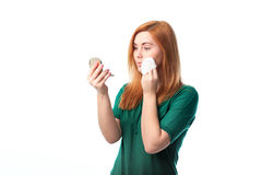 Woman washes away makeup Stock Images