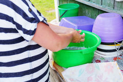 Woman washes clothes Stock Images