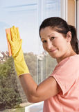 Woman washes a window Stock Photos