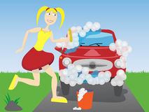 Woman washing car. Cheerful gal washes sud covered vehicle with sponge Stock Images