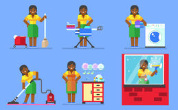Woman washing and cleaning. Household series  illustration. Royalty Free Stock Photo