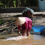 Woman washing clothes in mekong river Stock Photos