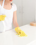 Woman washing dishes Stock Images