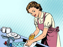 Woman washing dishes housewife housework comfort. Retro style pop art royalty free illustration