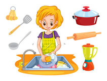 Woman washing dishes in the sink. Illustration Stock Photo