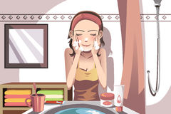 Woman washing face Royalty Free Stock Photo