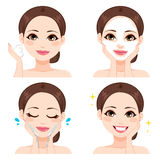 Woman Washing Face Steps Royalty Free Stock Photos