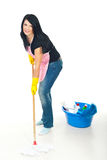 Woman washing floor Stock Image