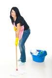 Woman washing floor stock image