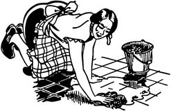 Woman Washing Floor Royalty Free Stock Images