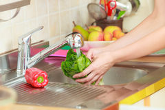 Woman washing fresh vegetables in kitchen Stock Image