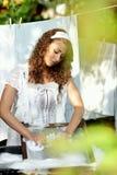 Woman washing in garden Royalty Free Stock Photo