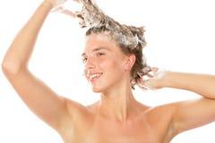 Woman washing hair Royalty Free Stock Photos