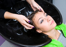 Woman washing hair Stock Photo