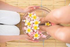 woman washing her feet in a bowl of flower Royalty Free Stock Photo