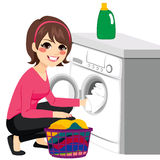 Woman Washing Machine Stock Images