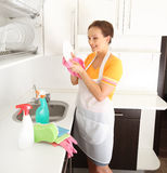 Woman washing plate Royalty Free Stock Images