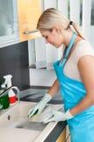 Woman washing plate Royalty Free Stock Photo