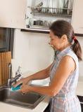 Woman washing plates Royalty Free Stock Photo