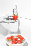 Woman Washing Strawberries Royalty Free Stock Photo