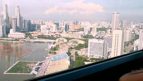 Woman watch city from the cabin Ferris wheel stock footage
