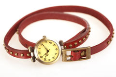 Woman watch with red leather belt Stock Photo