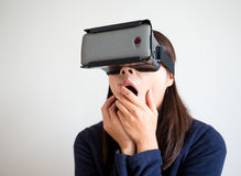 Woman watch scary movie with virtual reality Stock Photos