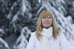 Woman watch the snow flakes. Beautiful woman watch the snow flakes gently fall Stock Photo