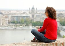 Woman watches the panorama. Of budapest from the castle hill Royalty Free Stock Photography