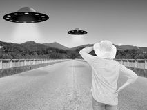 UFOs, alien invasion. Monochrome and slightly desaturated for re
