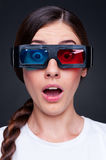 Woman watching 3d film Stock Images