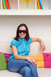 Woman watching 3d film and resting Royalty Free Stock Photo